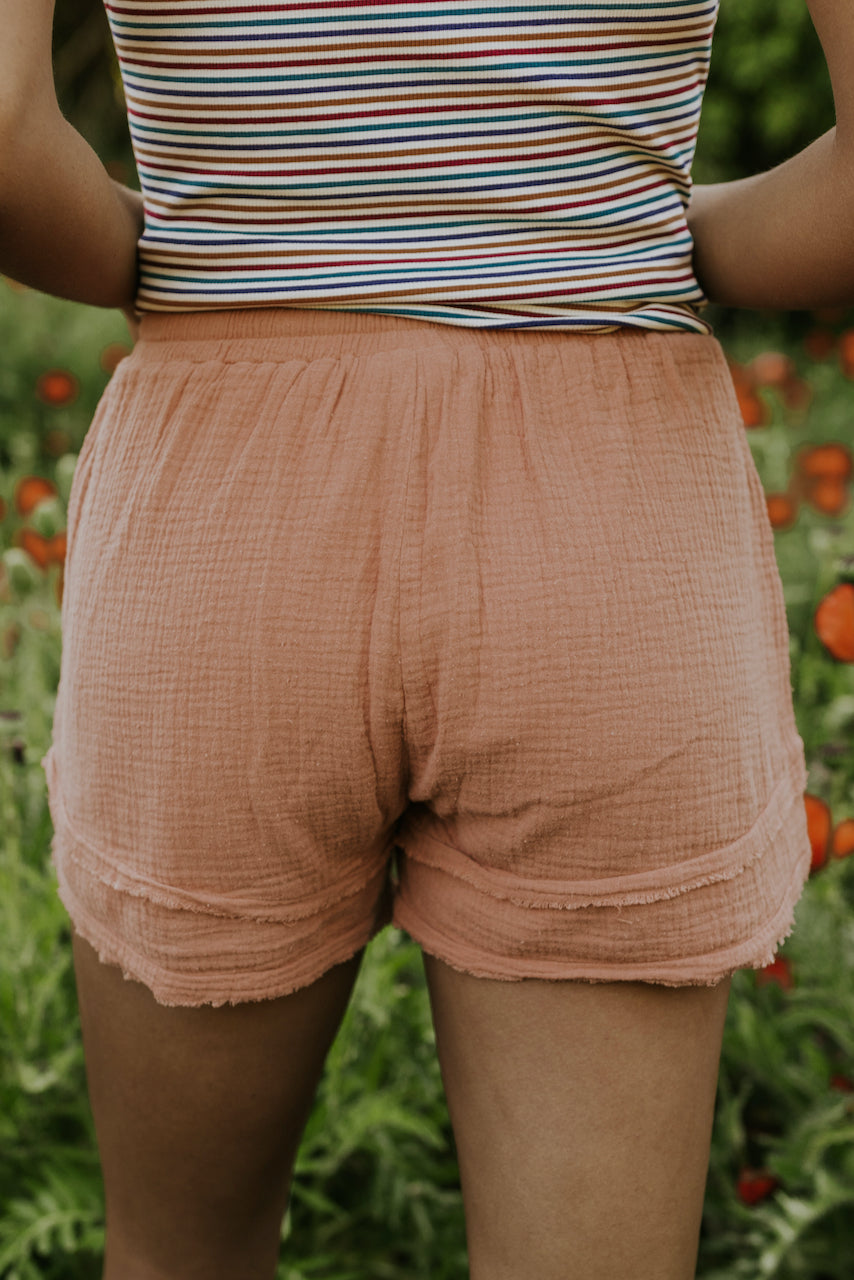 blush drawstring shorts | ROOLEE