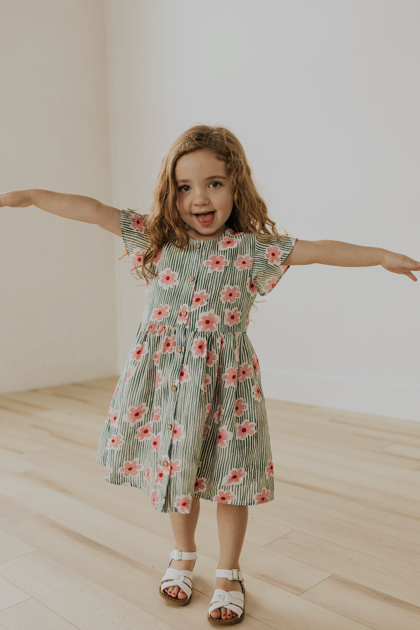 Kids Striped and Floral Dress | ROOLEE
