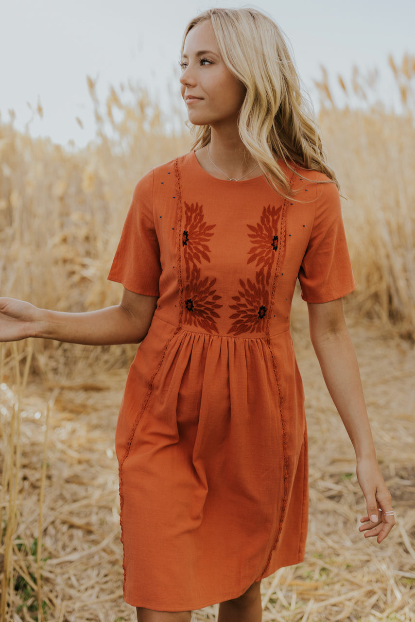 Red floral embroidered dress | ROOLEE