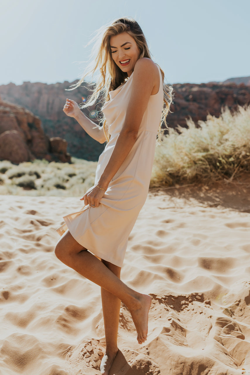 Soft neutral bridesmaid dress for summer || ROOLEE