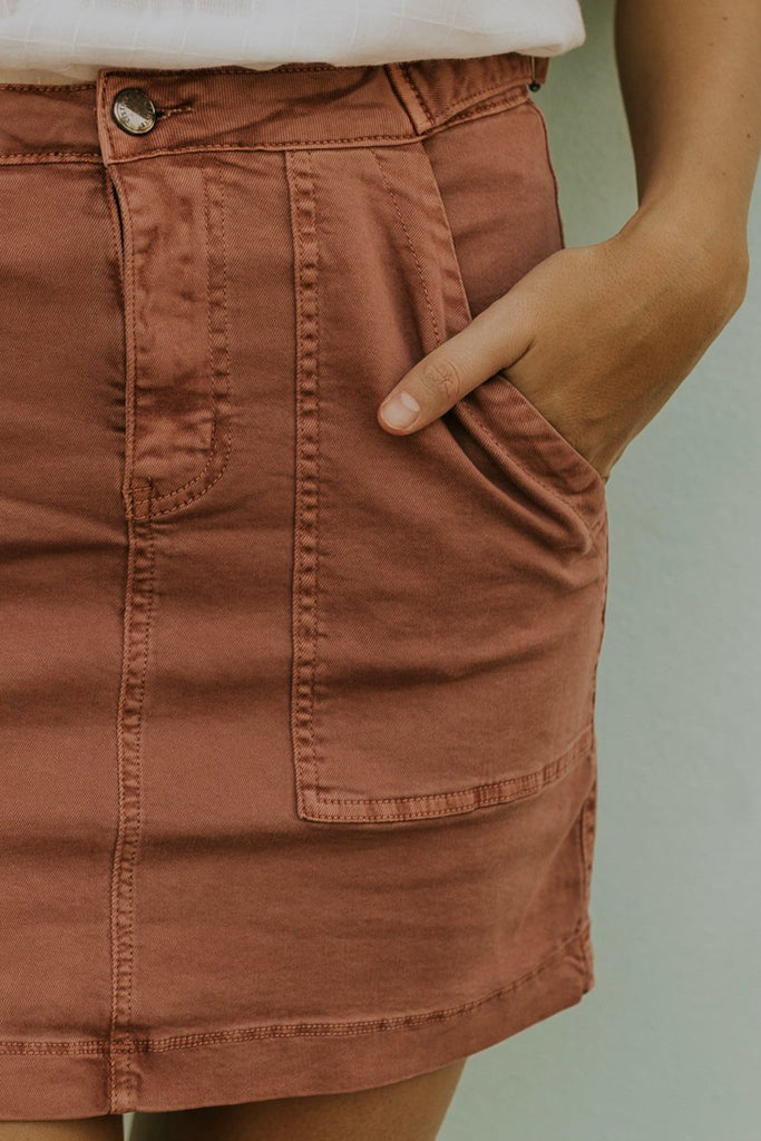 Pink Denim Skirt with Pockets | ROOLEE