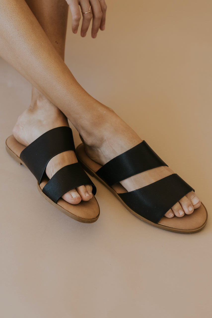 Cute Black Slip On Sandals | ROOLEE