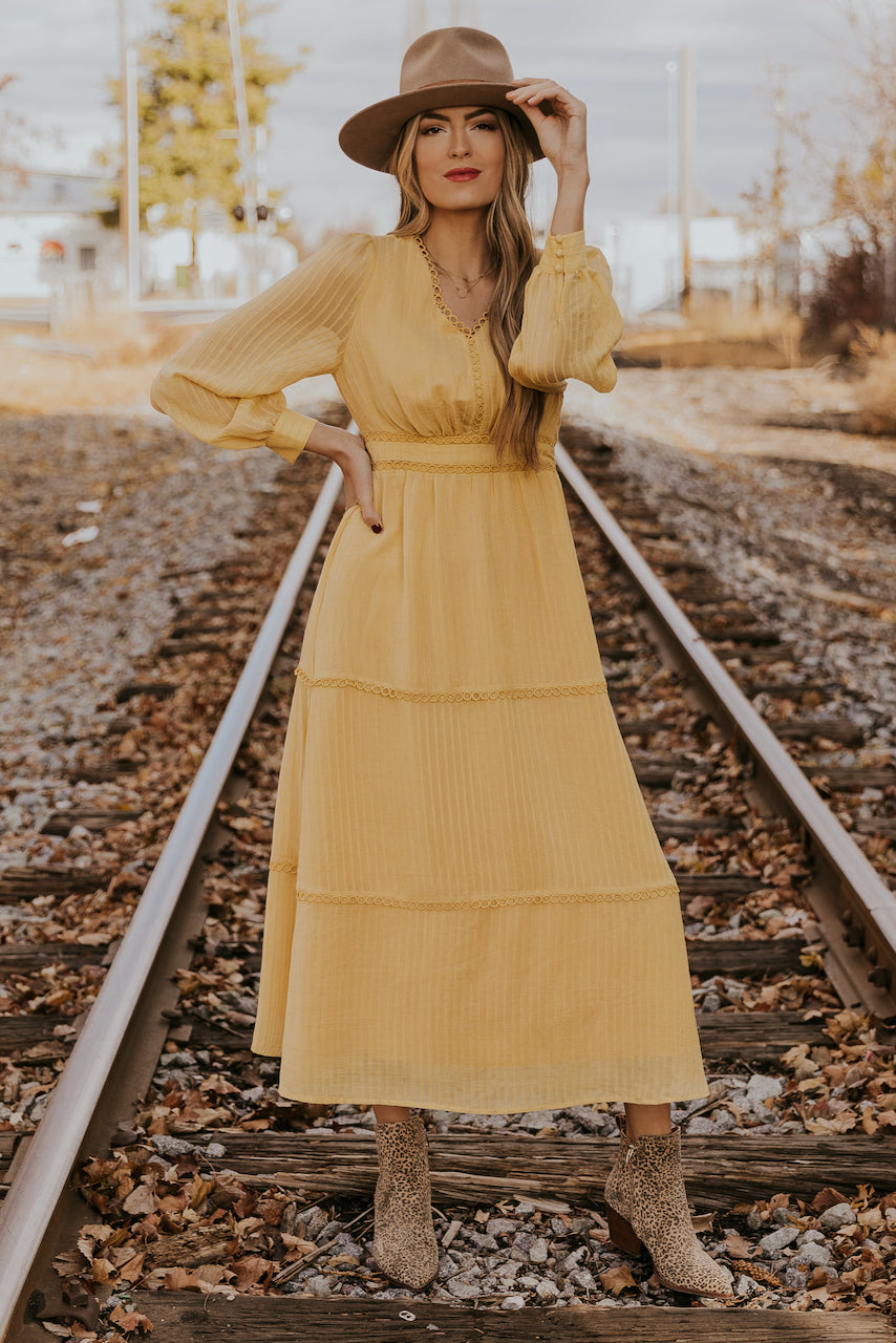 Yellow tiered long sleeve maxi dress | ROOLEE