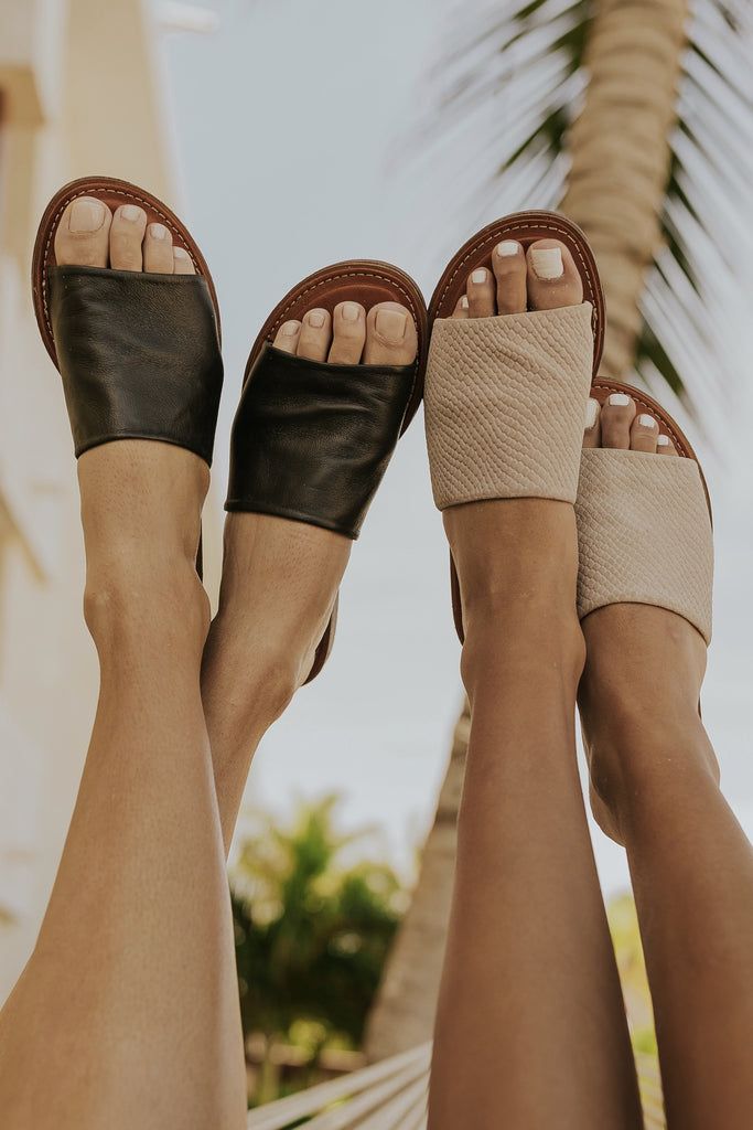 Black slip on summer sandals | ROOLEE