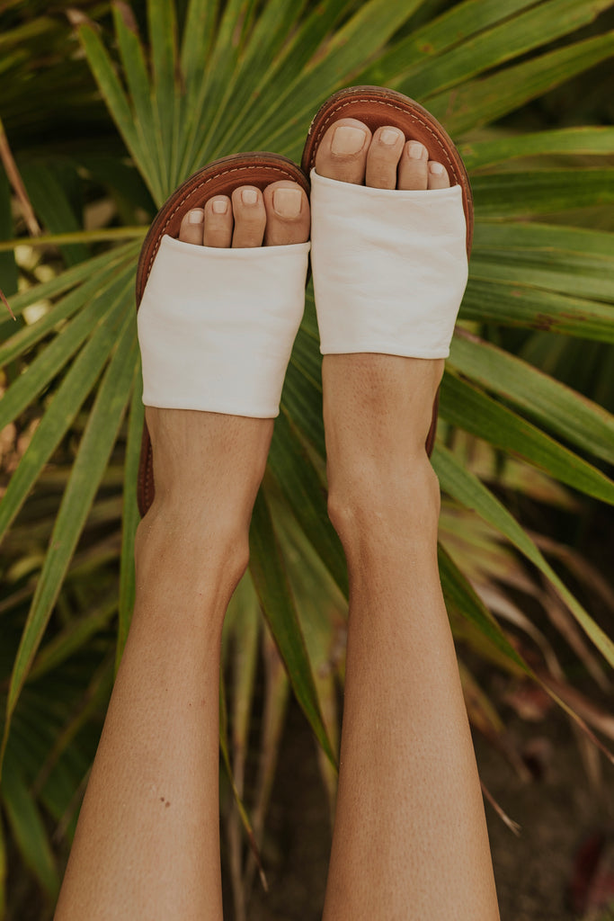 Cream open toe sandals for summer | ROOLEE