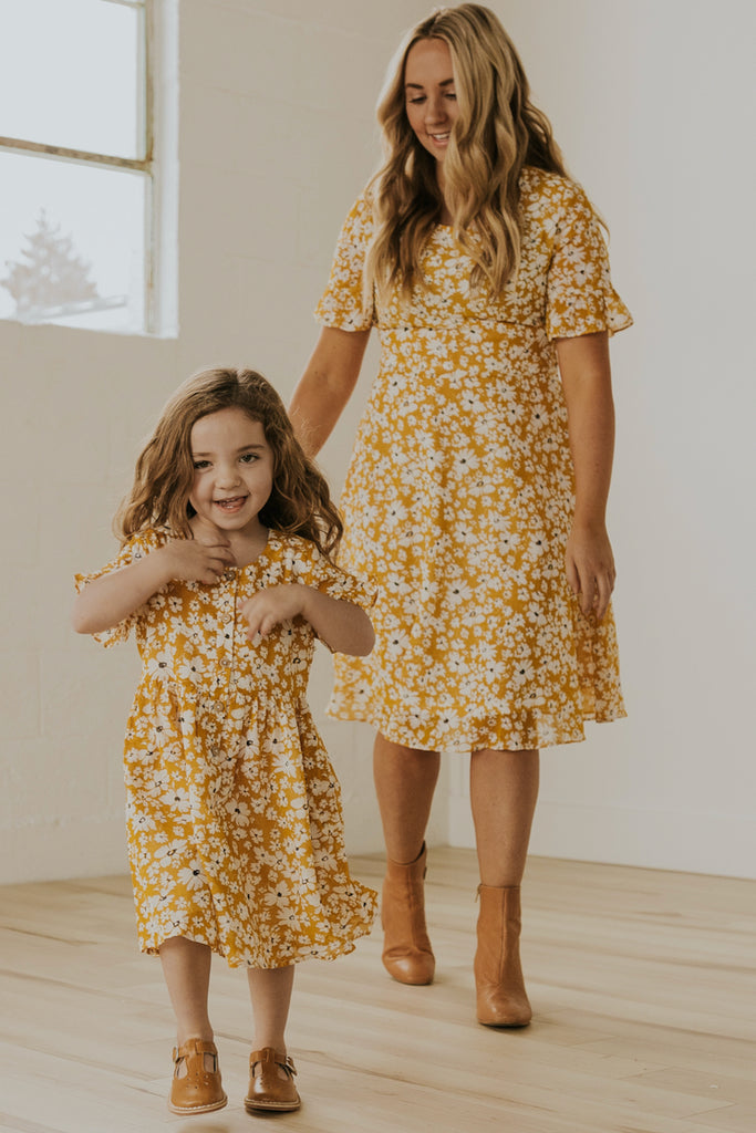 Yellow Mini Matching Spring Dresses | ROOLEE