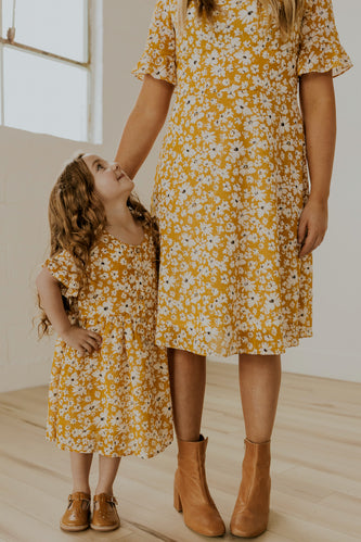 Cute Spring Yellow Matching Dresses | ROOLEE