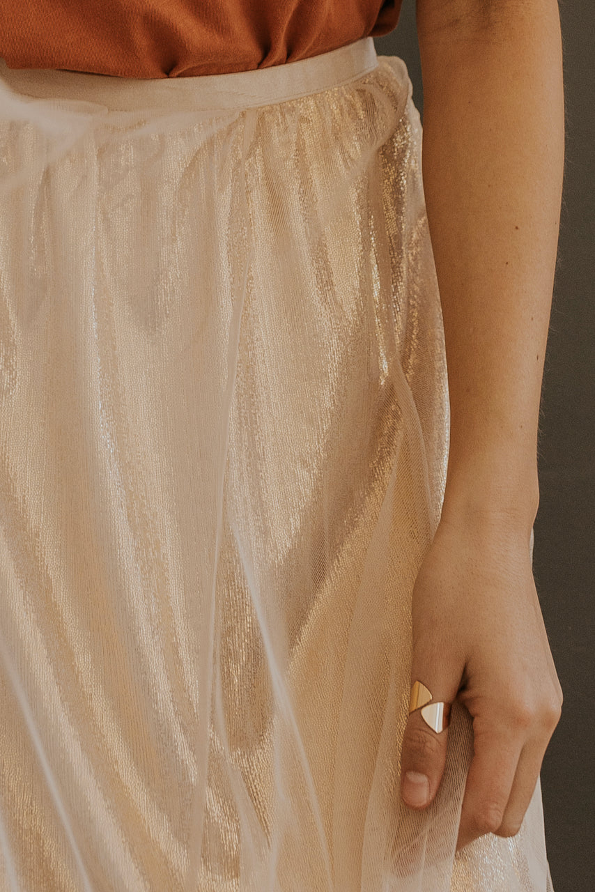 Gold and Pink Tulle Skirt | ROOLEE