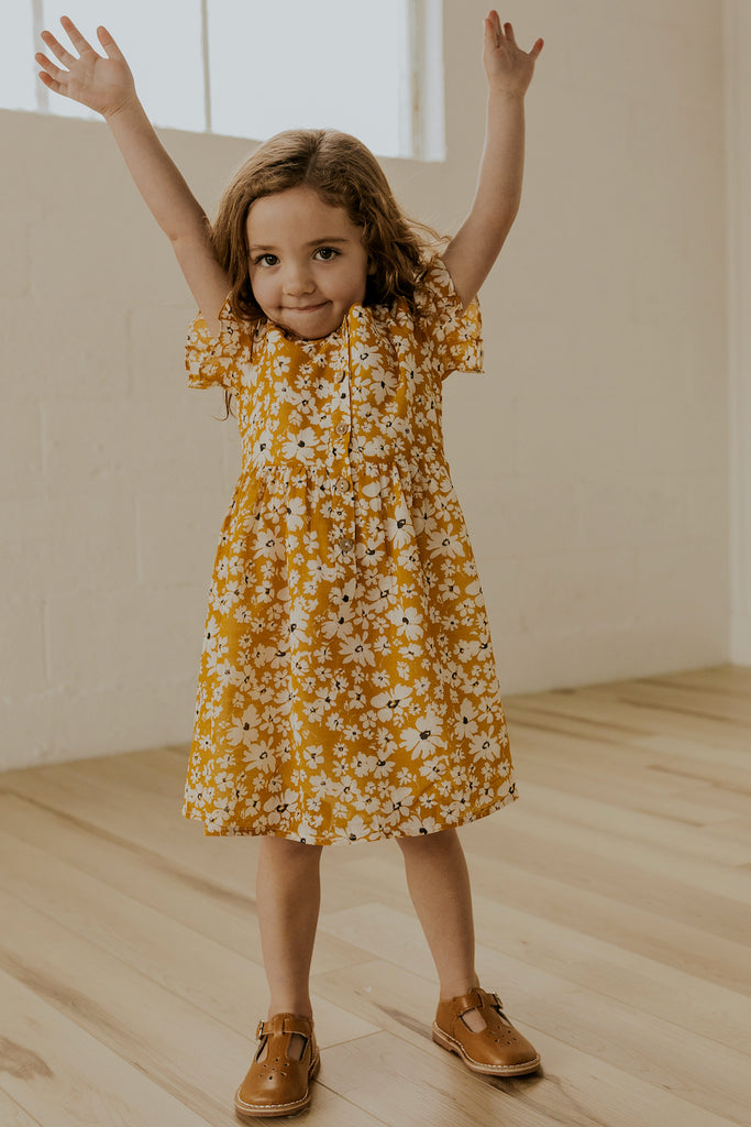 Yellow Floral Short Sleeve Kids Dresses | ROOLEE
