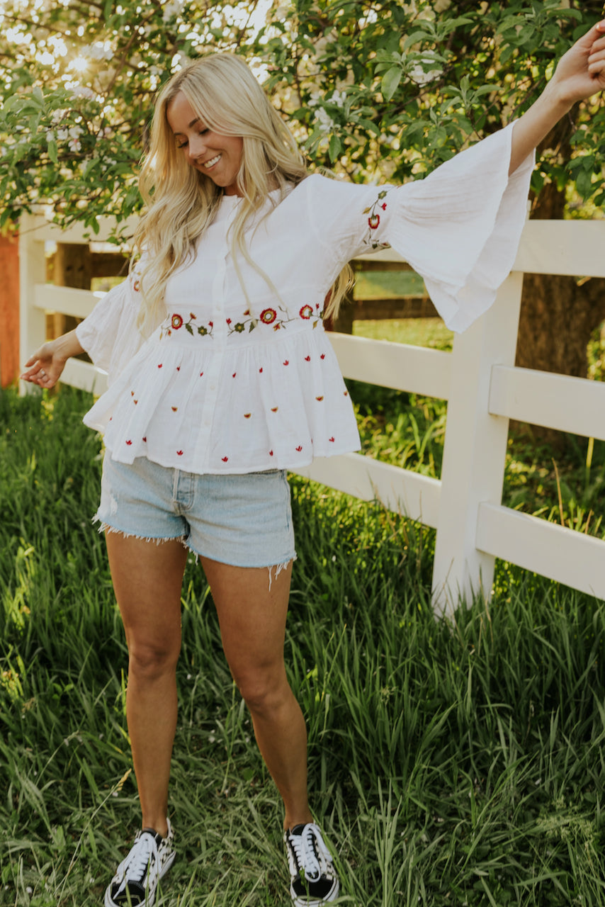 Embroidered Bell Sleeve Top | ROOLEE