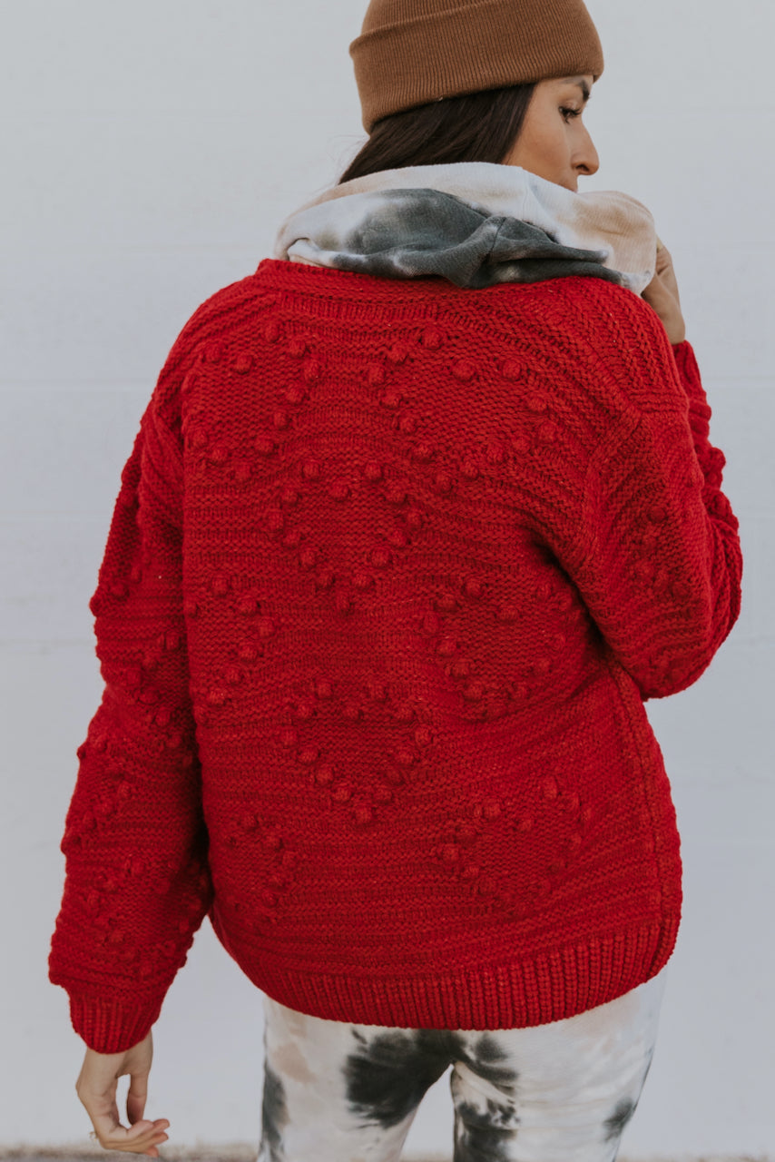 Long Sleeve Christmas Red Cardigan Sweater | ROOLEE