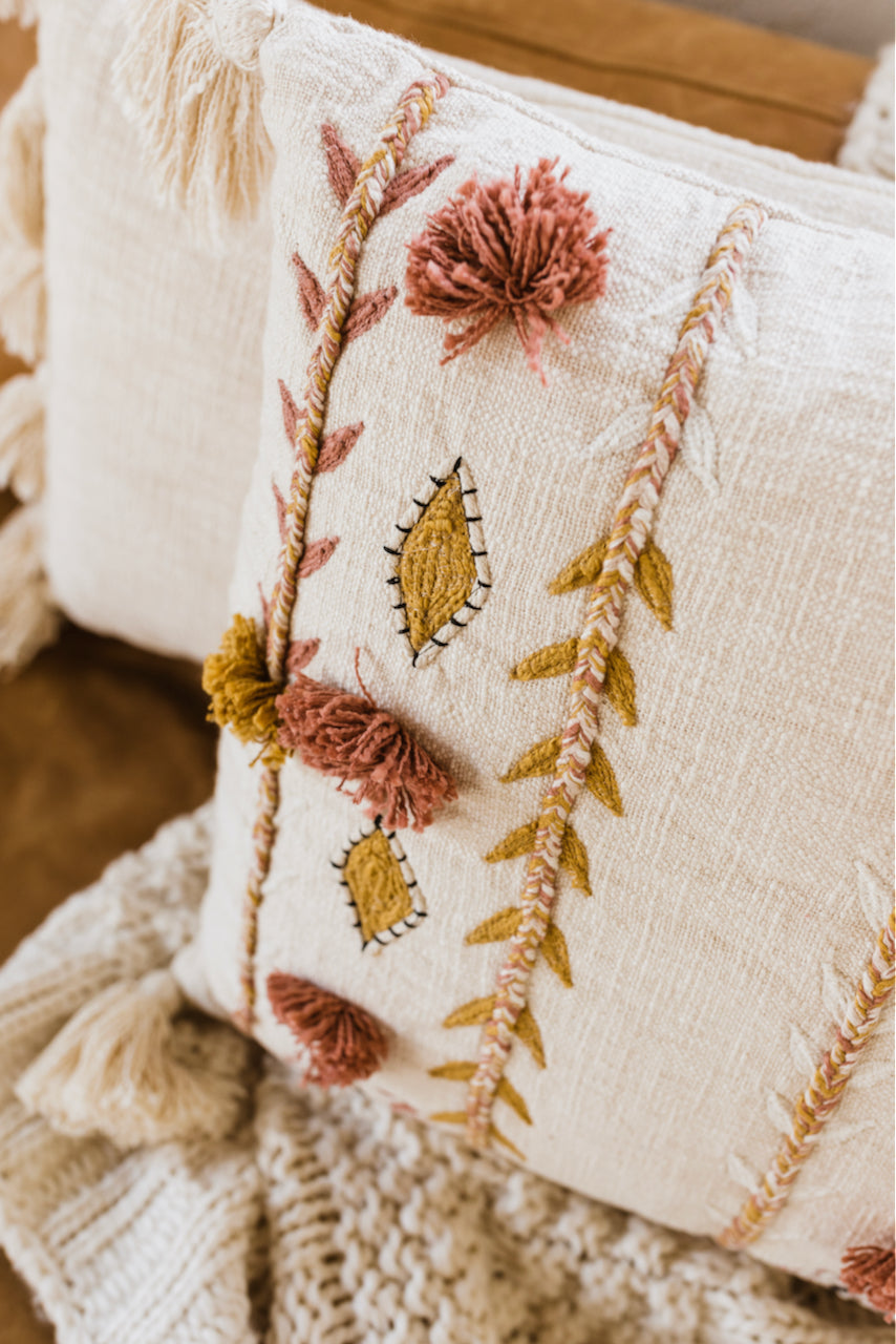 Corinne Embroidered Tassel Pillow