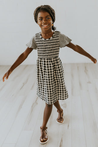 Girls black and white checkered dress | ROOLEE