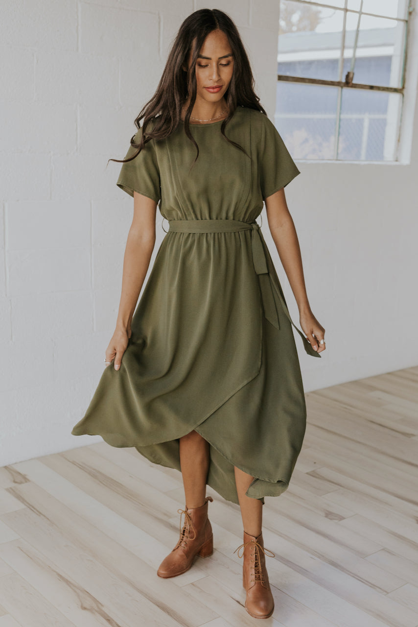 Green wrap front maxi dress | ROOLEE