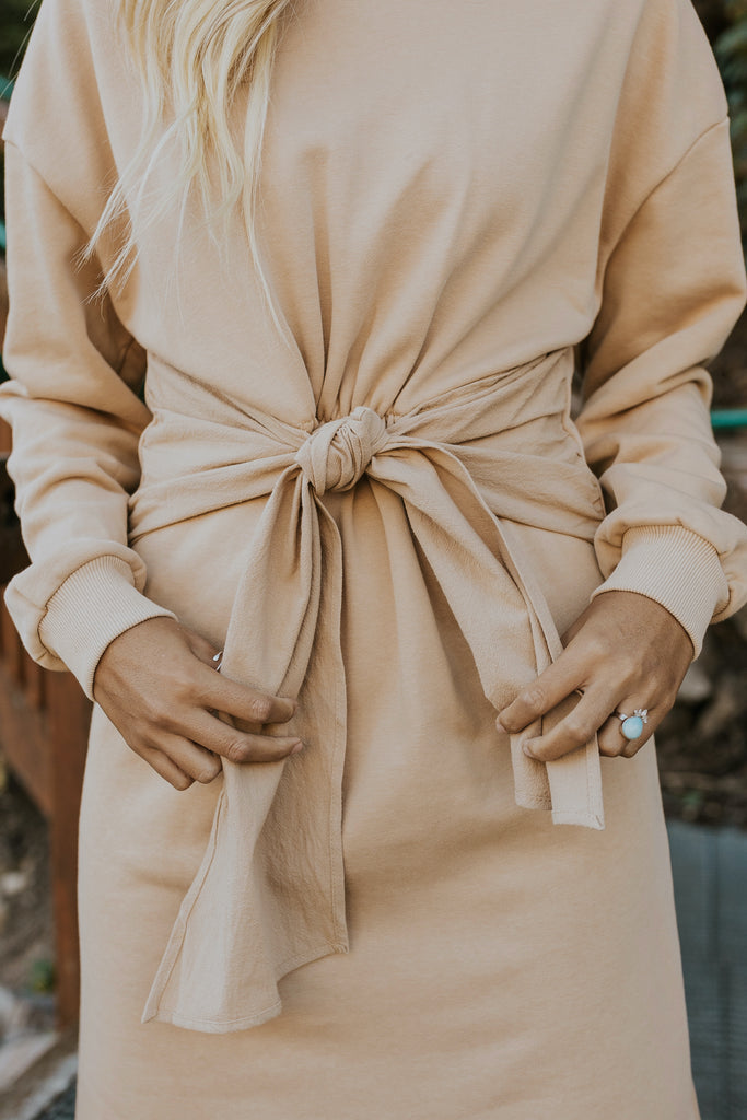 Tie front neutral sweater dress | ROOLEE