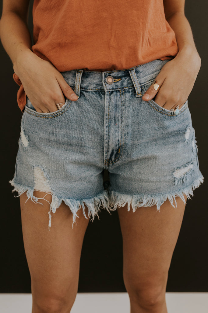 Distressed Denim Shorts | ROOLEE