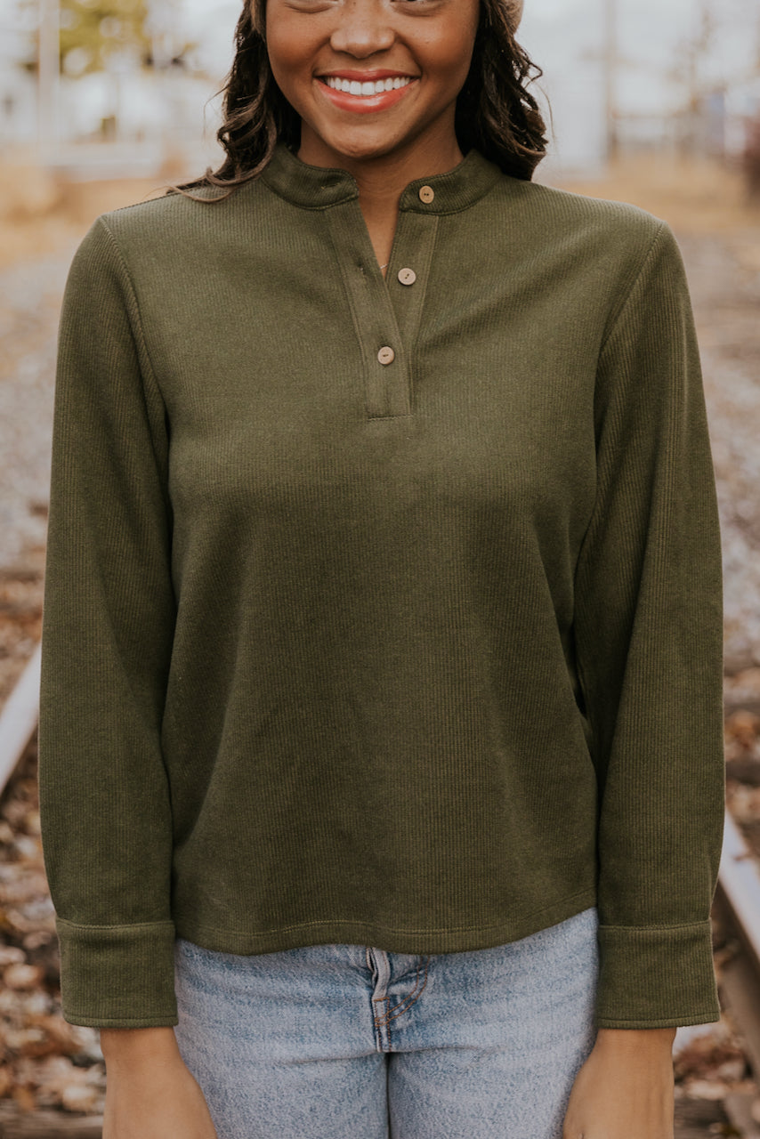 Pine Tree Button Pullover