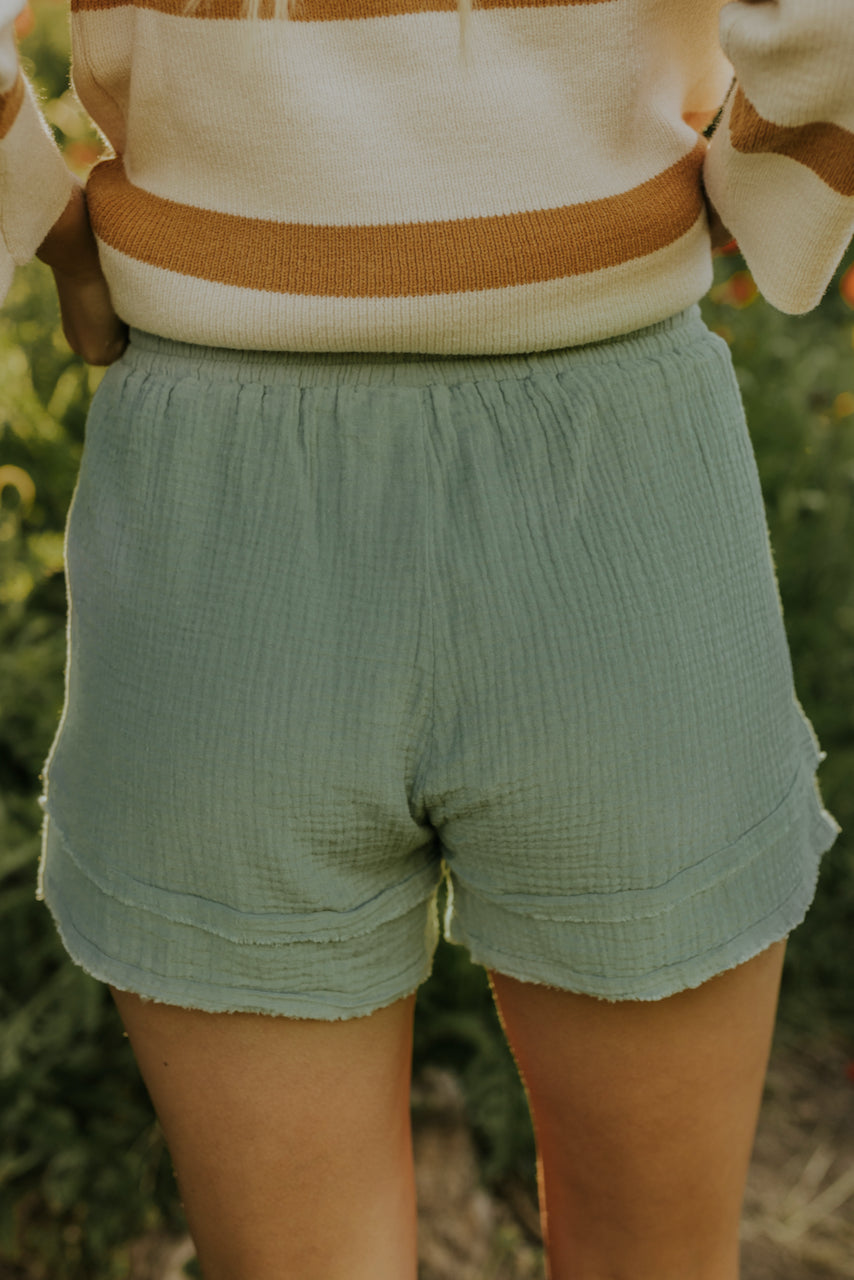 textured sage shorts | ROOLEE
