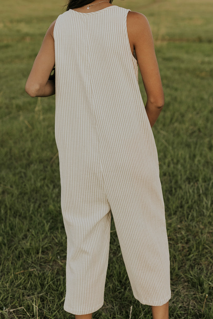 olive and ivory stripe jumpsuit | ROOLEE