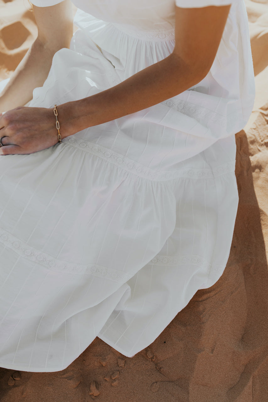 White Tiered Maxi Dress | ROOLEE