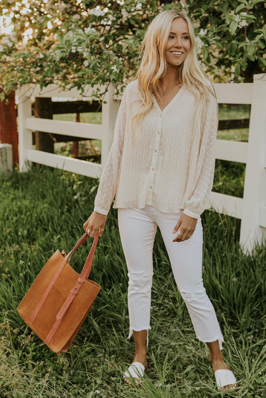 White Polka Dot Tops | ROOLEE
