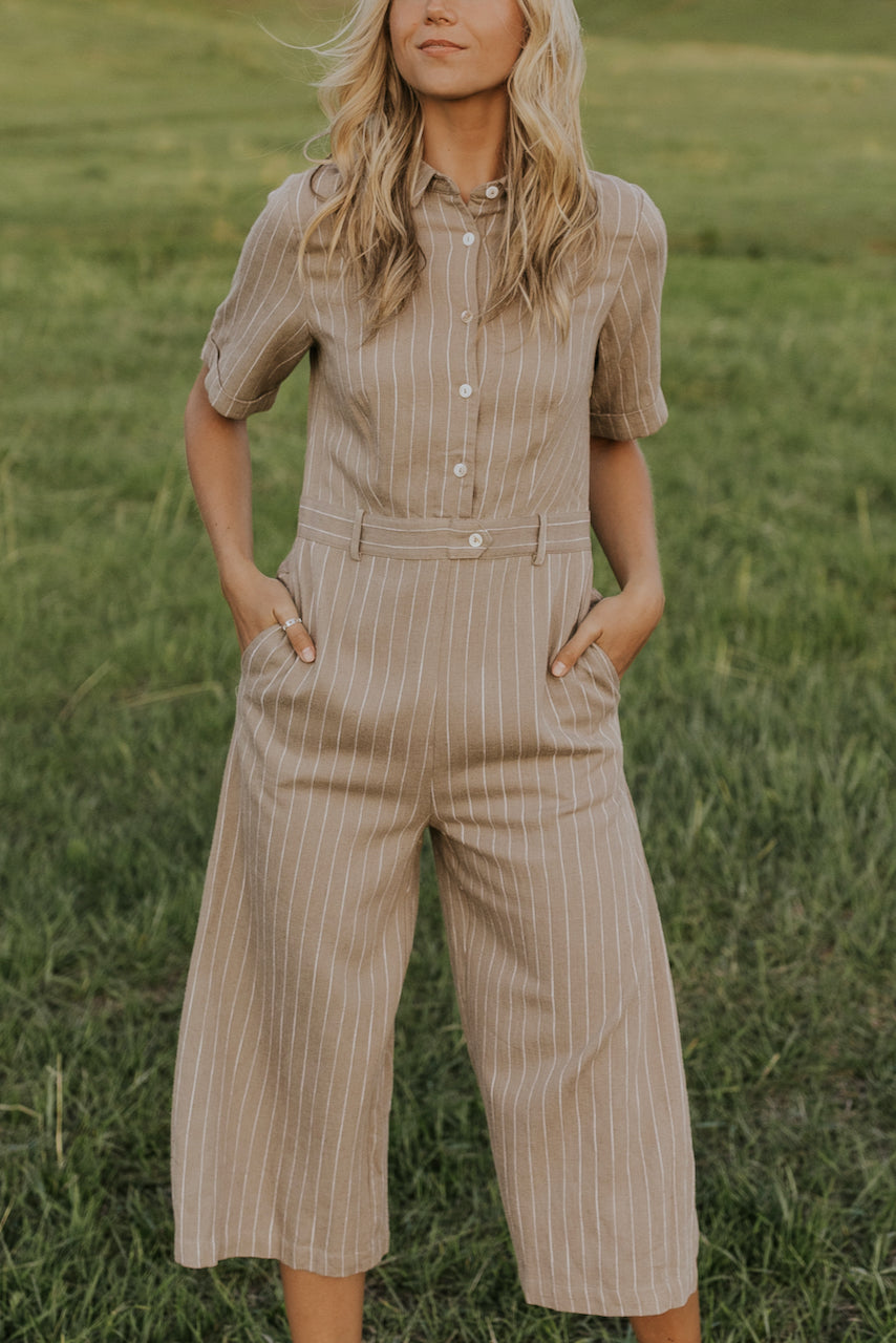Pinstripe modest jumpsuits | ROOLEE