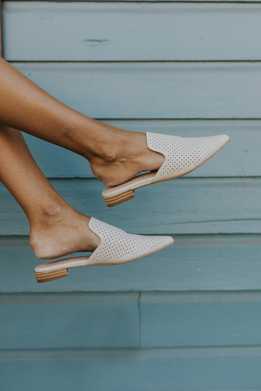 White perforated mules | ROOLEE