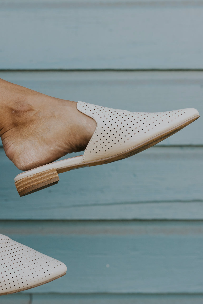 Cream mules for fall | ROOLEE