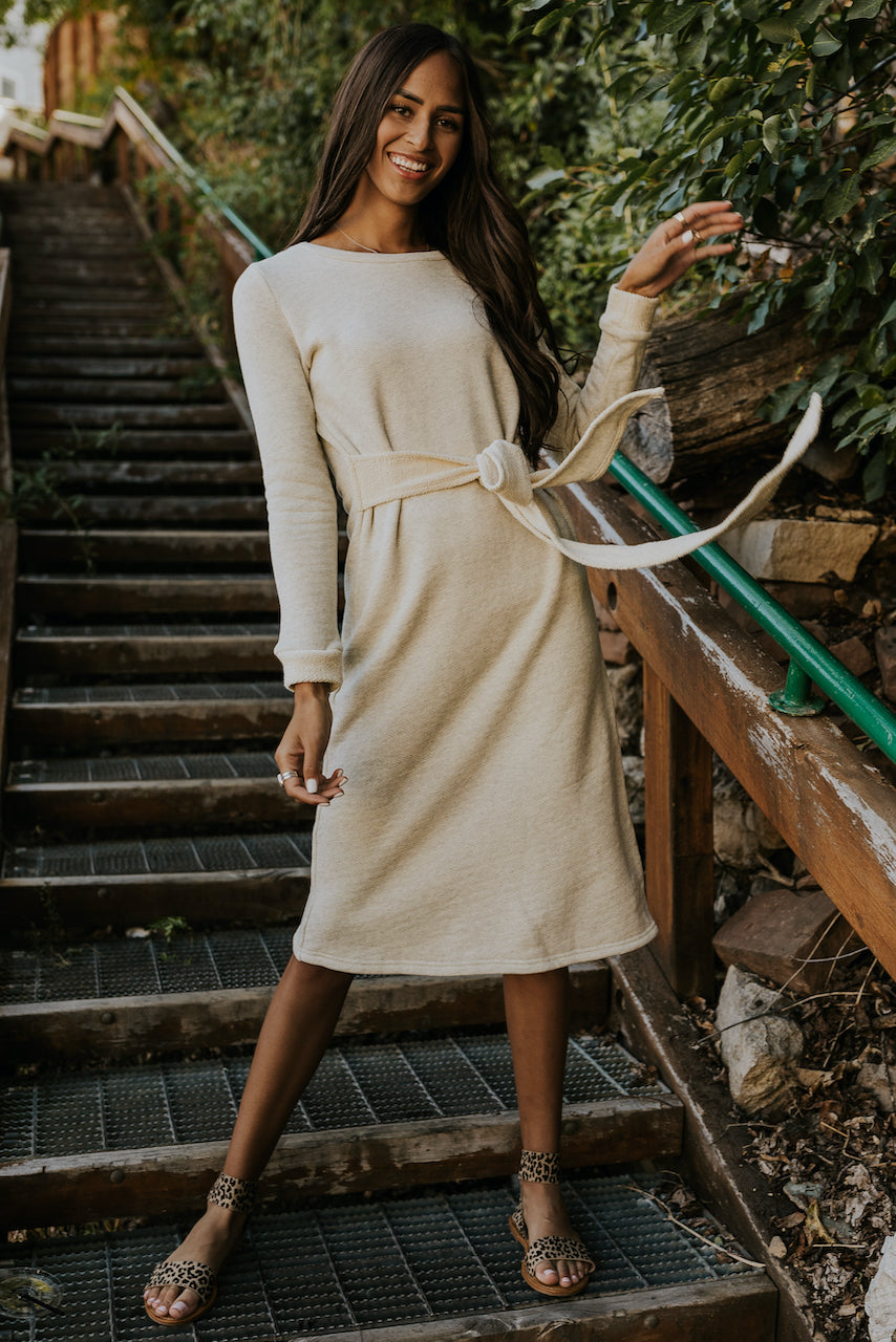 Long Sleeve Cream Formal Dress for Winter | ROOLEE