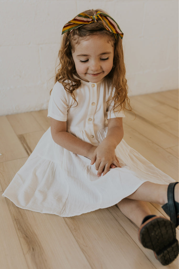 Girl's White Spring Dress | ROOLEE