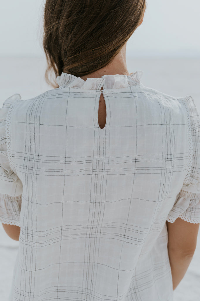 White ruffle blouse for layering | ROOLEE