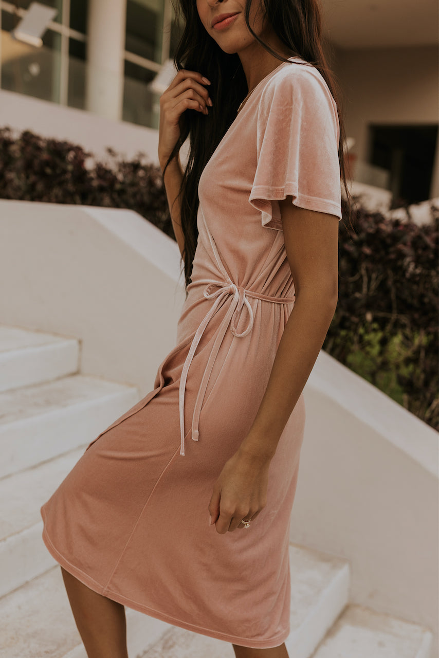 Front wrap pink velvet dress | ROOLEE