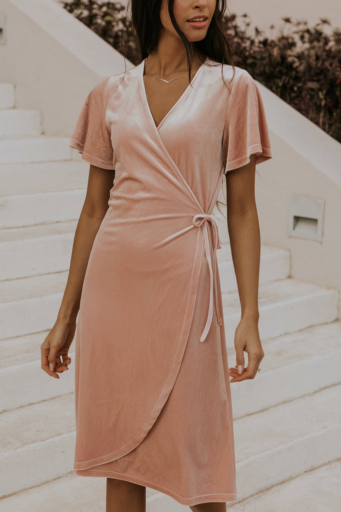 Soft shiny coral bridesmaid dresses | ROOLEE