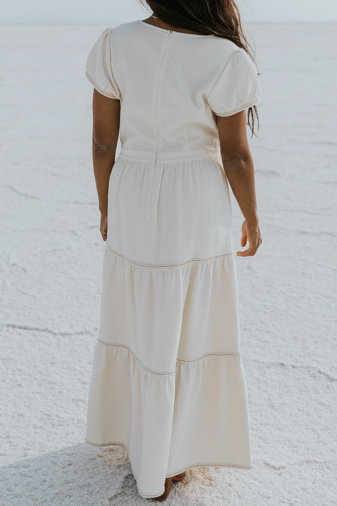 Tiered ivory maxi dress | ROOLEE