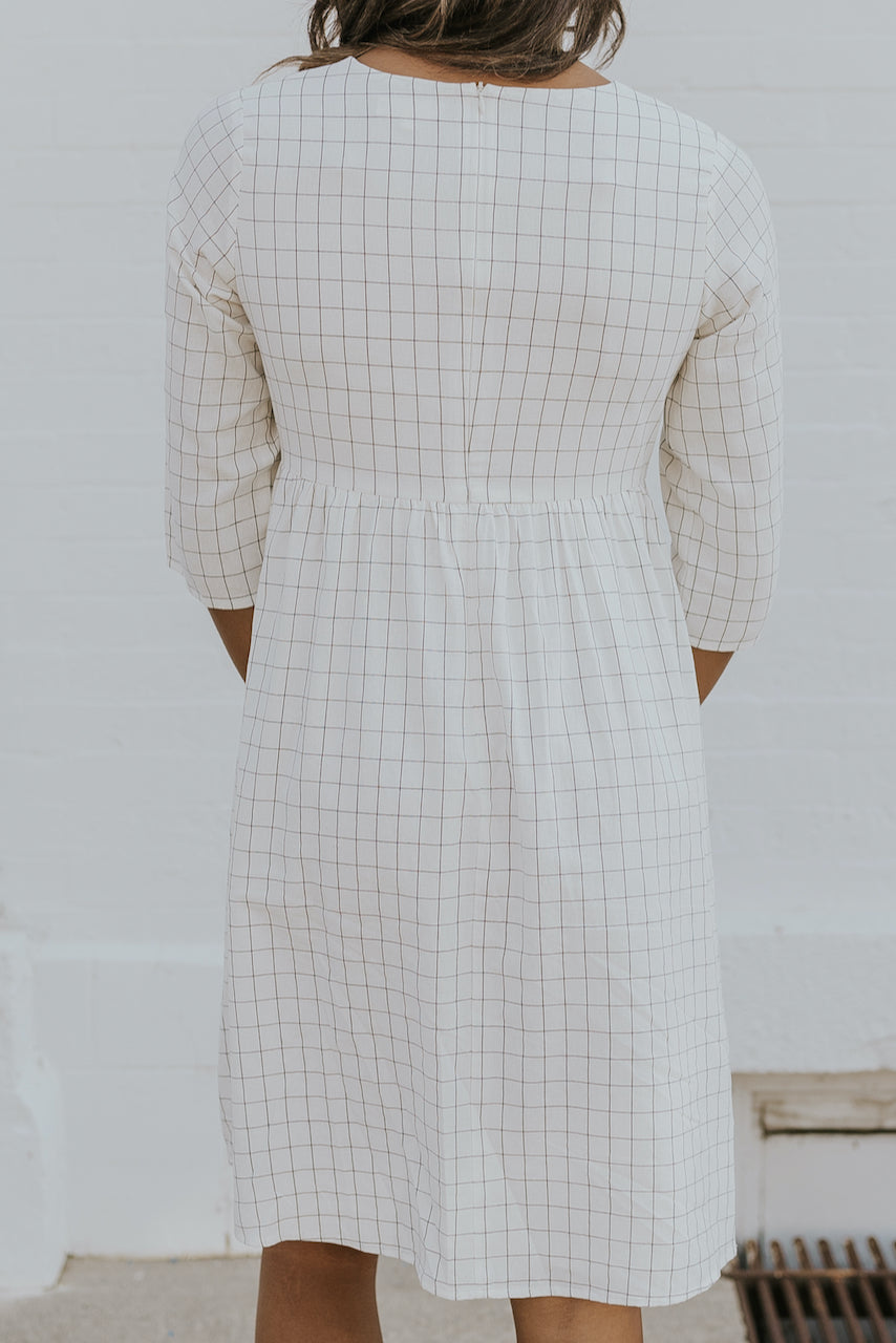 White grid babydoll dress | ROOLEE
