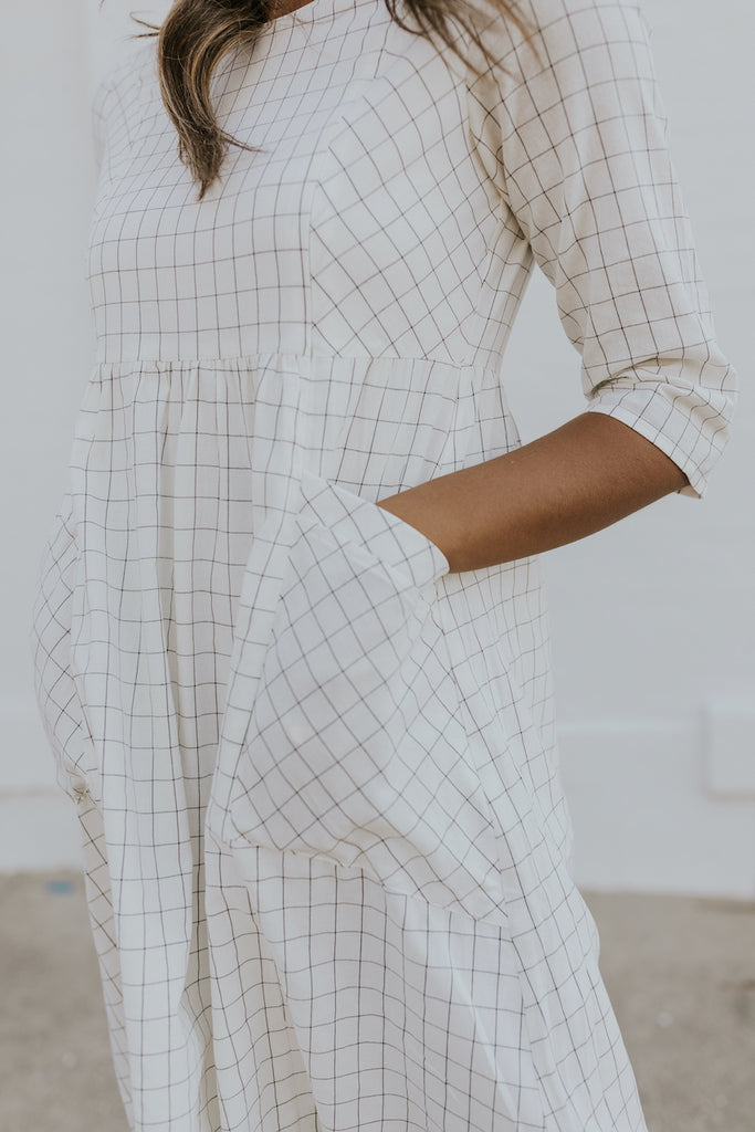 Black and white grid dress with pockets | ROOLEE