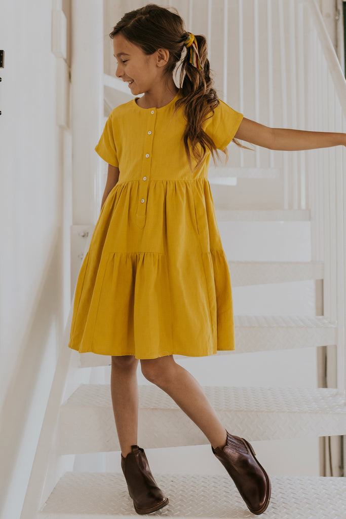 Girl's Tiered Yellow Dress | ROOLEE