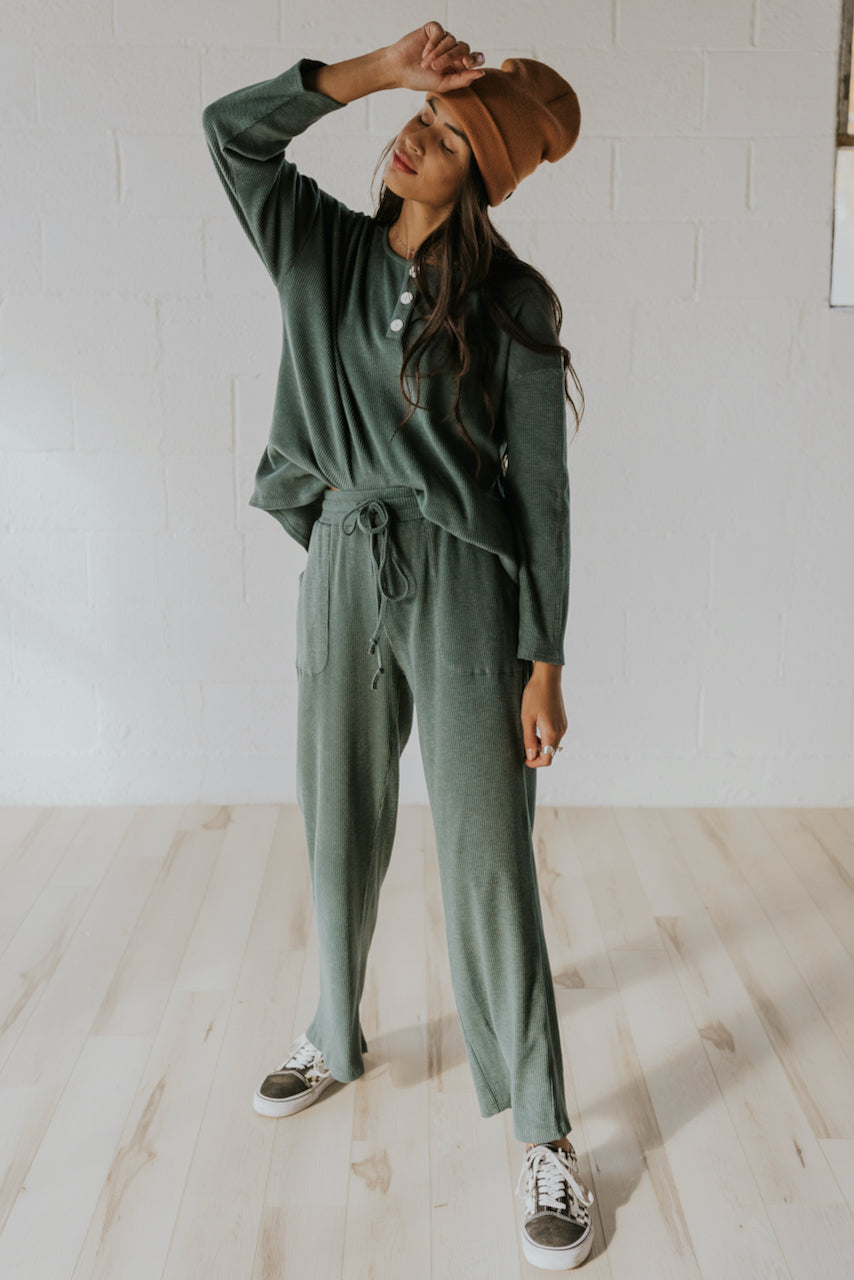 Cute wide leg green loungewear | ROOLEE
