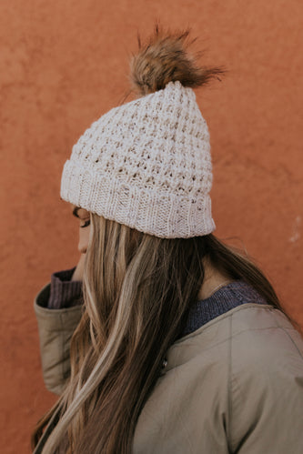 White snowy knit beanie for women | ROOLEE