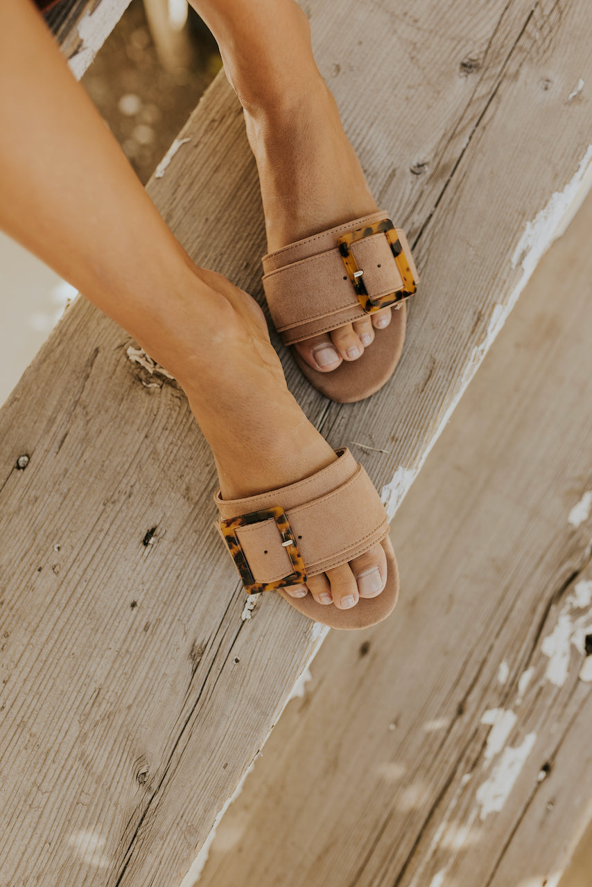 Brown wide strap open back sandals | ROOLEE