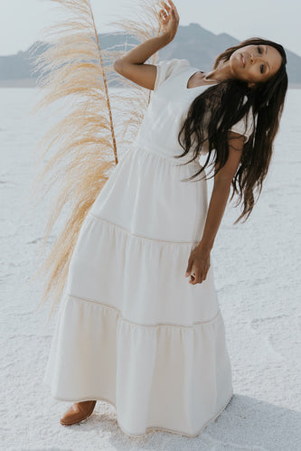 Cream textured maxi dress | ROOLEE