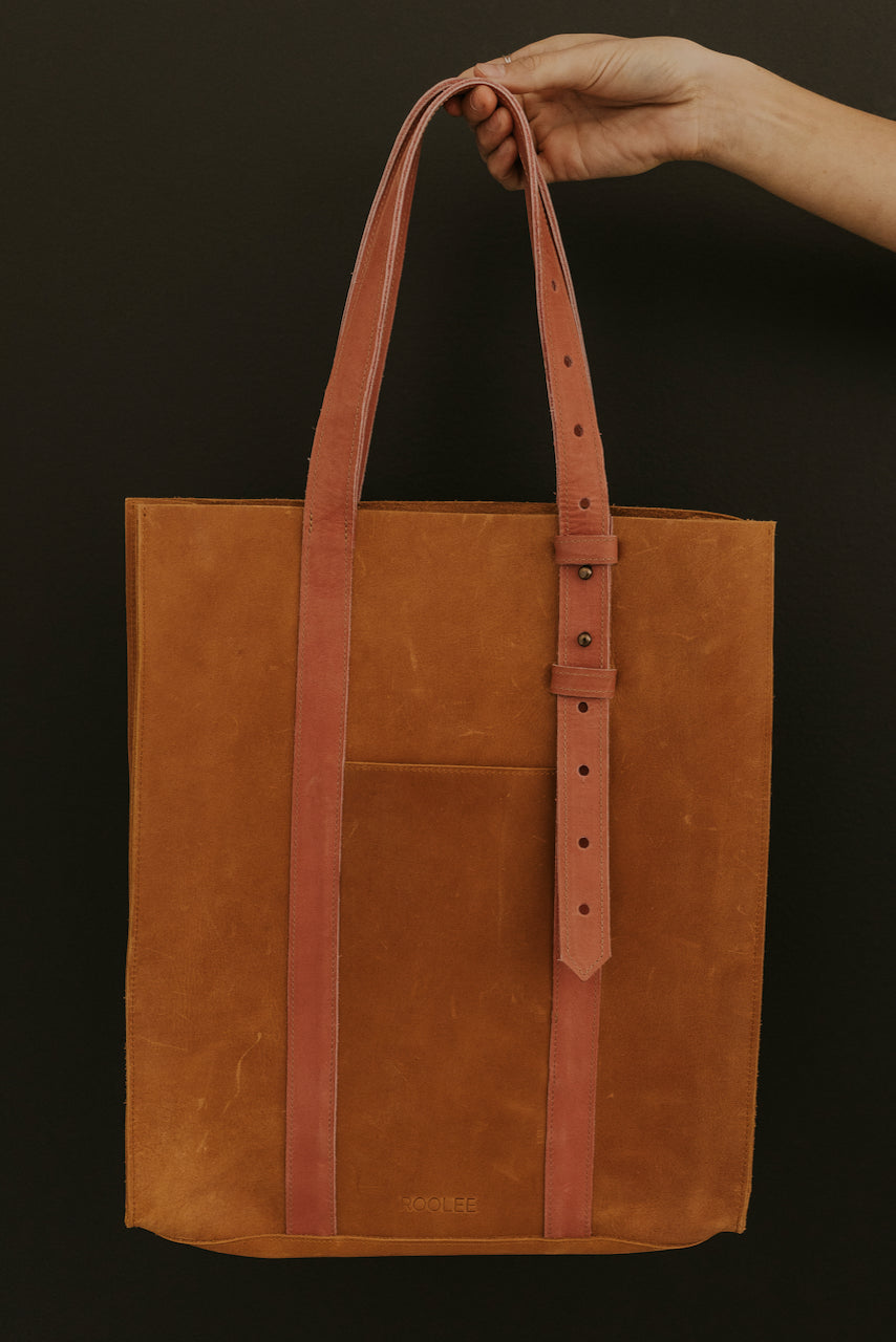 Simple Leather Tote with Adjustable Straps | ROOLEE