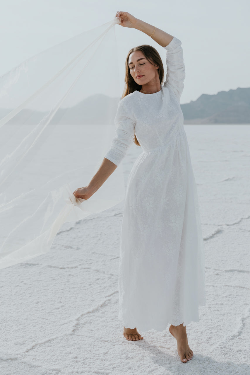 White modest long sleeve temple dress | ROOLEE