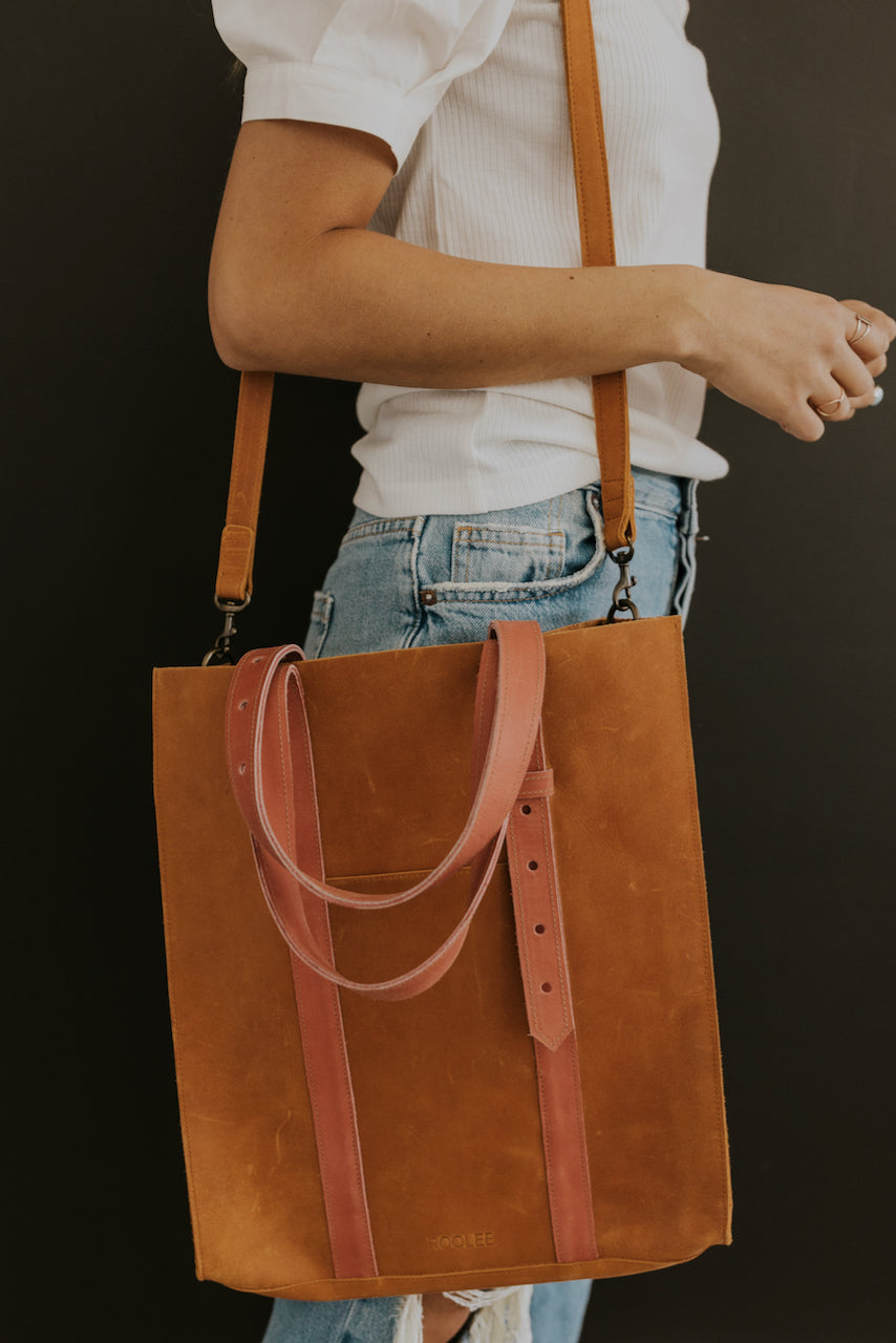 Leather Tote with Adjustable Strap | ROOLEE
