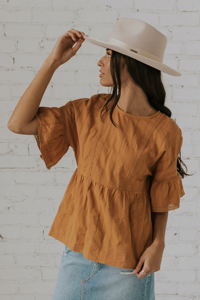 Camel spring blouses for women | ROOLEE