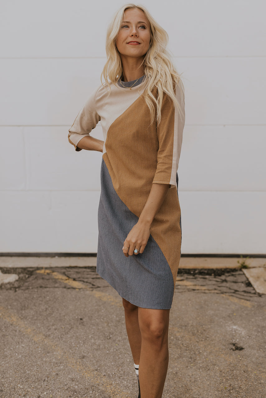 Neutral colorblock Dress | ROOLEE