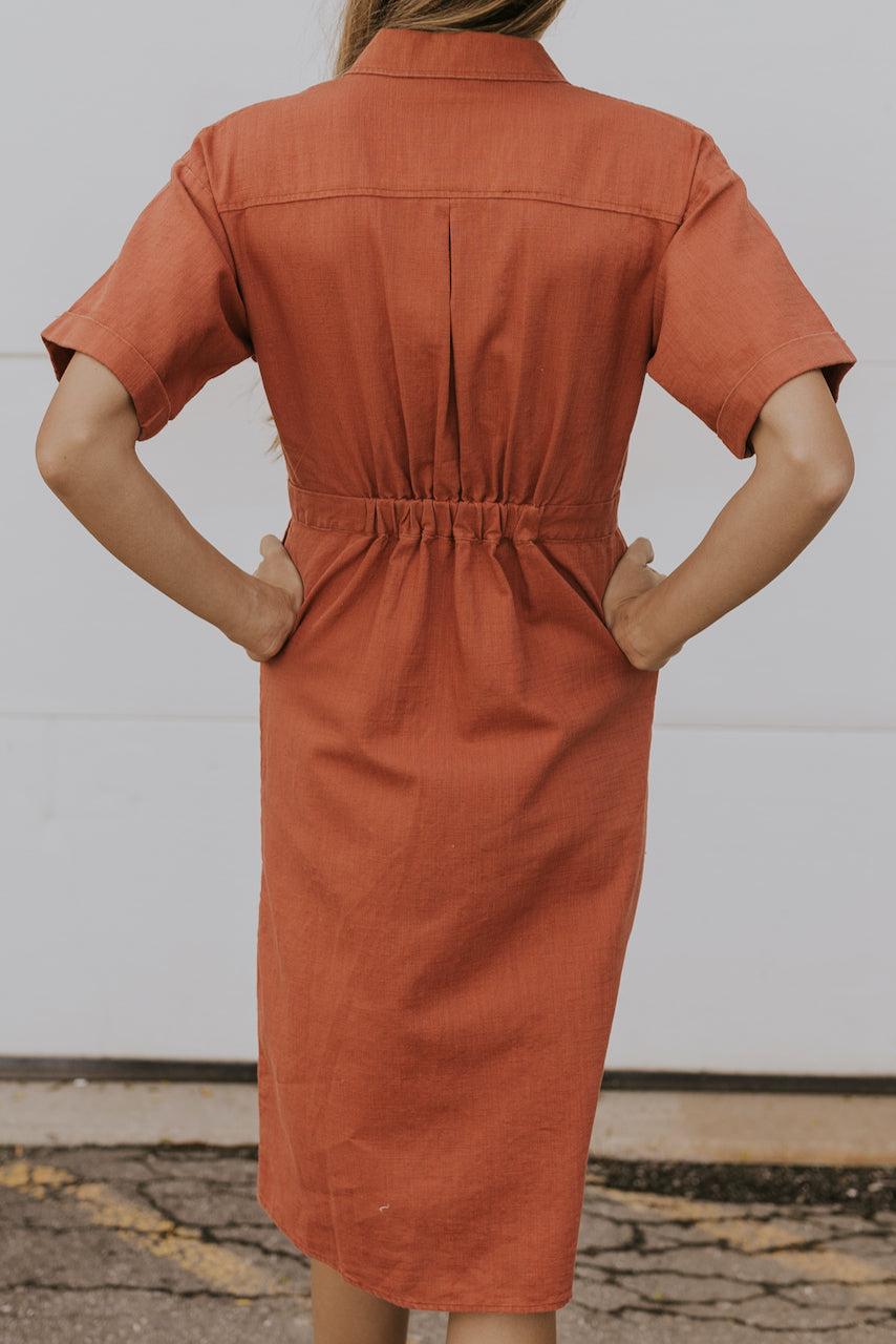 Oversized coral collared dress | ROOLEE
