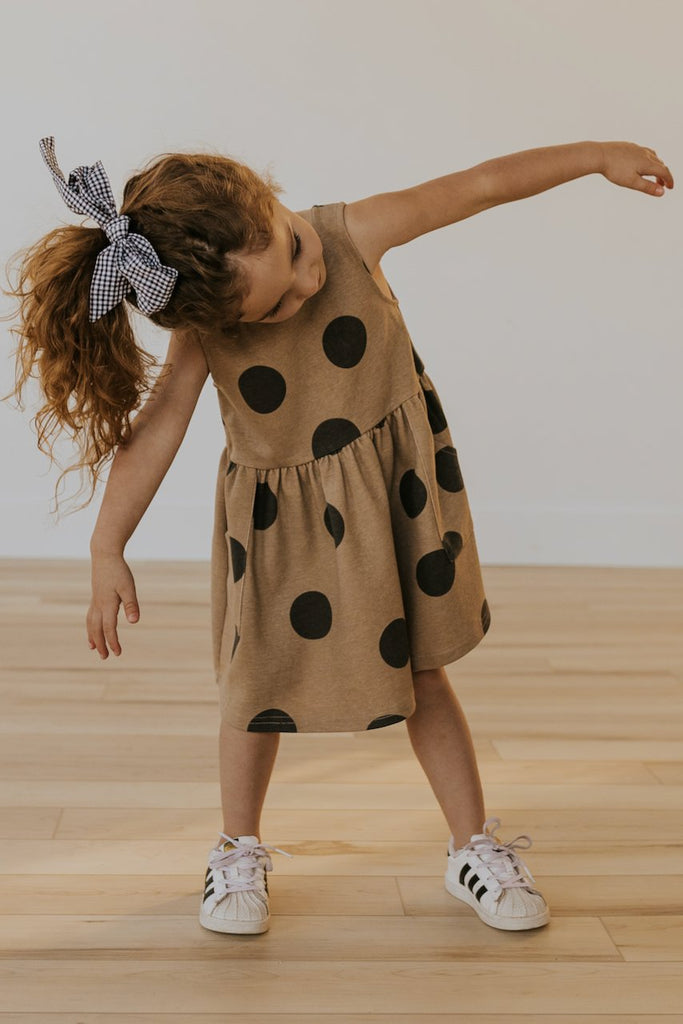 Black polka dot casual little girls dresses | ROOLEE