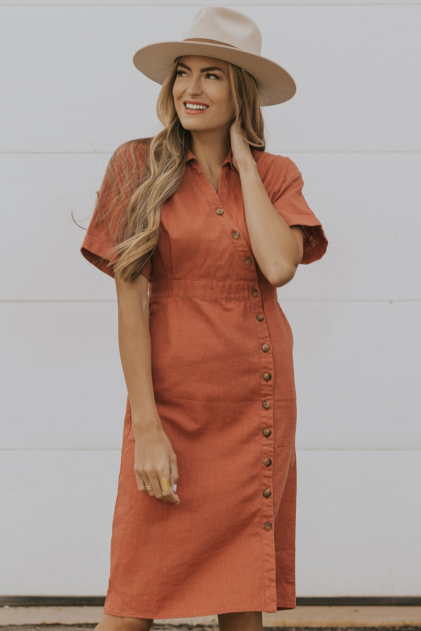 Coral collared dress | ROOLEE