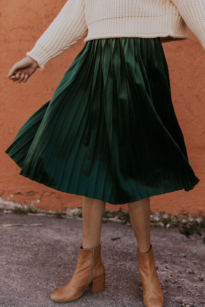 Green Pleated Velvet Skirt | ROOLEE